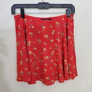 Forever 21 Red NWT floral Skater circle Skirt